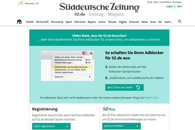 SZ will Werbung zeigen und verschweigt Tracking